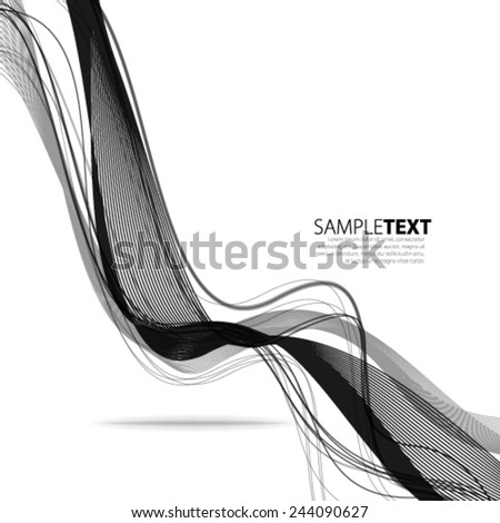 Smooth Curve Lines Black and White Background - stock vector