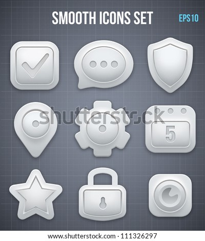 Smooth icons set. Vector - stock vector