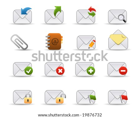 Smooth series: a collection of colorful web icons for your web page! Mail related icons. - stock vector