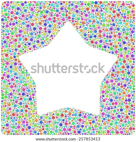Smoothed star into a square icon. Mosaic of harlequin circles - stock vector