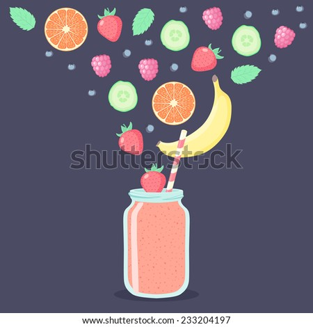 Smoothie in jar, fruits and berries against dark background. Colorful vector illustration. - stock vector