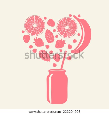 Smoothie in jar, fruits and berries. Silhouettes. Vector illustration. - stock vector
