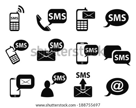 sms icons set - stock vector