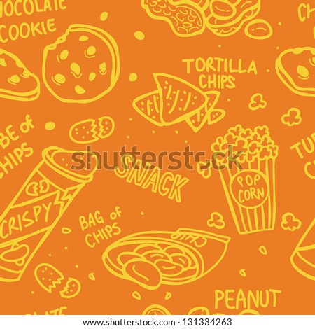 snack doodle seamless pattern - stock vector
