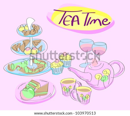 Snacks, cups and teapot on pink background with Tea Time text - stock vector