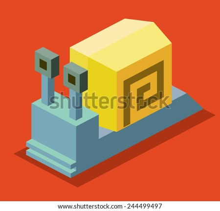 snail. 3d pixelate isometric vector - stock vector