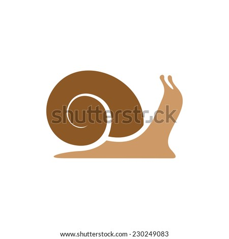Snail logo template. Simple flat colors silhouette. - stock vector