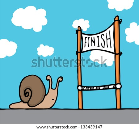 Snail reaching his goal - stock vector