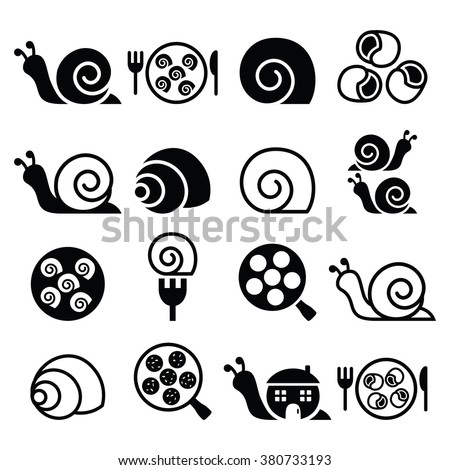 Snails, French snail meal - Escargot icons set  - stock vector