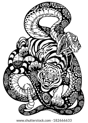 snake and tiger fighting, black and white tattoo illustration  - stock vector