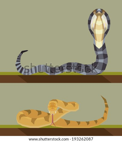 Snake - flat design Simple illustration in the flat style, colors easy to change - stock vector