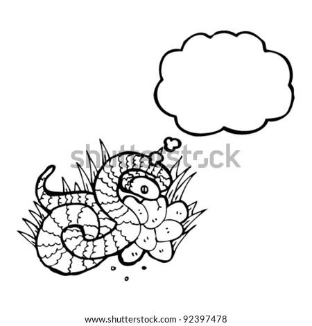 snake on nest of eggs illustration - stock vector