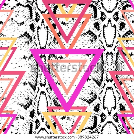 Snake skin texture background. bright black magenta pink orange lilac purple modern trendy background. seamless pattern. Geometric abstract background for site, blog, fabric. Vector - stock vector