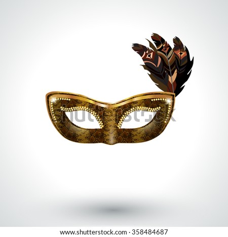 Snake skin Venetian carnival mask with feathers - stock vector