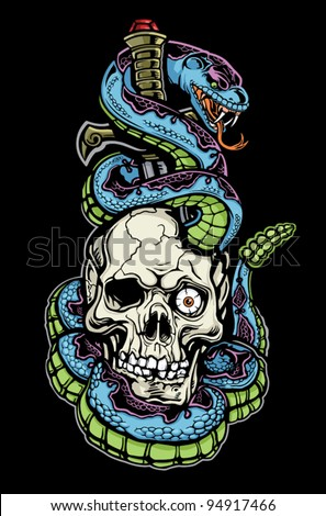 Snake Skull and Dagger Tattoo - stock vector
