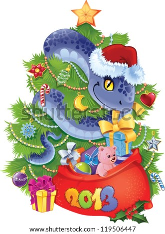 Snake - The symbol of  New Year 2013. - stock vector