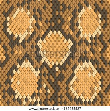Snakeskin, Seamless python snake skin pattern - stock vector