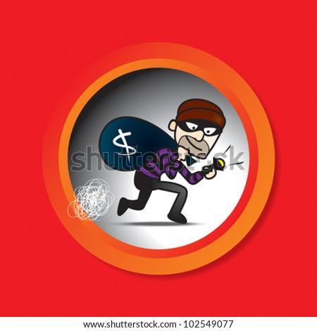 Sneak Thief illustration - stock vector