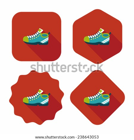 sneaker flat icon with long shadow, eps10 - stock vector