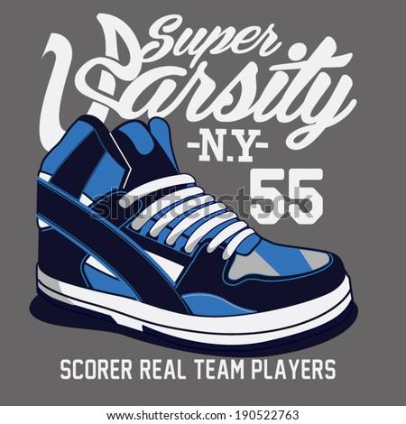sneakers graphic design - stock vector