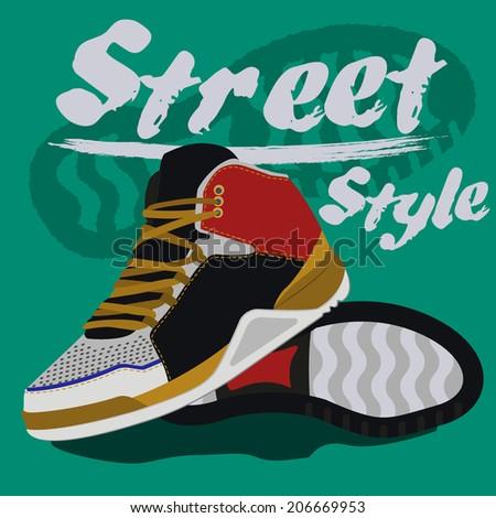 sneakers graphic design. vector illustrations - stock vector