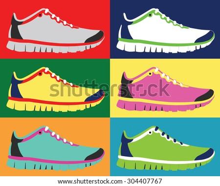 Sneakers icon in flat design. Vector - stock vector