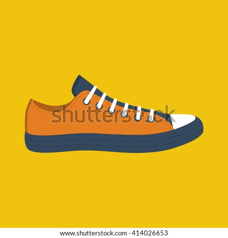 Sneakers men, vector illustration, flat design style. Sport fashion shoes. Footwear isolated athletic. Classic sneaker. Sneakers icon. - stock vector