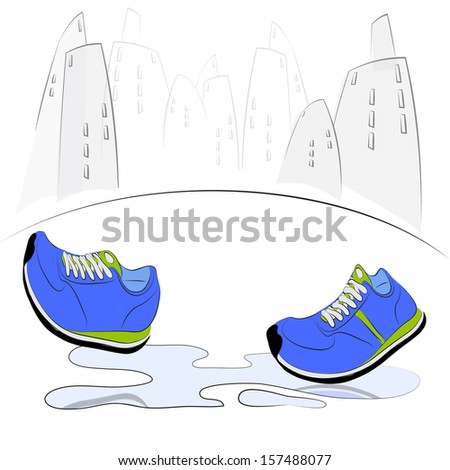 Sneakers walking through puddles in the city. Vector illustration - stock vector