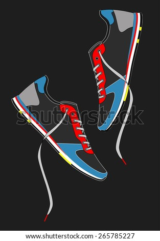 Sneakers with laces on a dark background. vector - stock vector