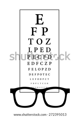 Snellen eye test chart with black frame glasses. Vision chart exam with alphabet letters for measuring visual acuity. Health care concept, vector art image illustration, isolated on white background - stock vector