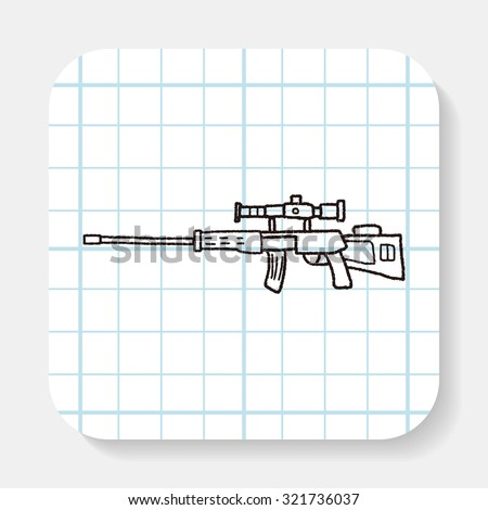 Sniper rifle doodle - stock vector