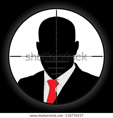 Sniper scope crosshair aiming man - stock vector