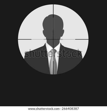 Sniper scope crosshair man silhouette. Vector target, illustration for your design - stock vector