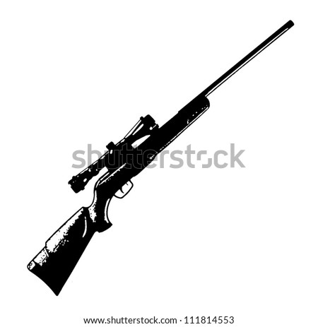 Sniper scope rifle vector black isolated on white background - vector illustration image - stock vector