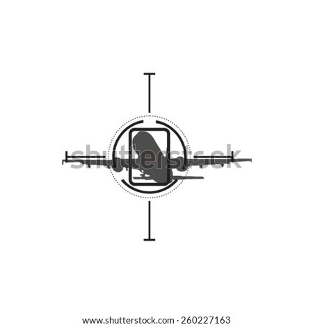 Sniper target scope or sight, isolated on plane - stock vector