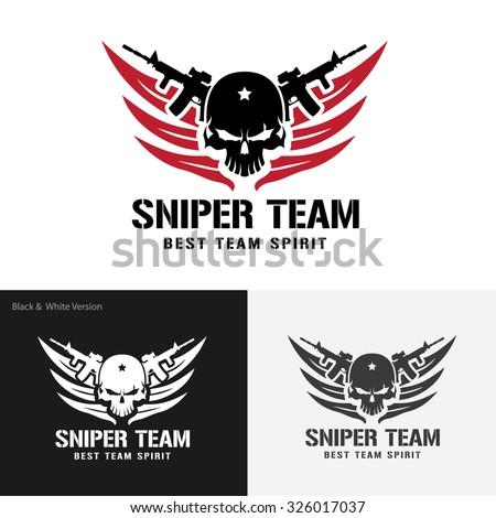 Sniper Team Logo,Skull Logo,rock,game,gamer,wing logo,Vector logo template - stock vector