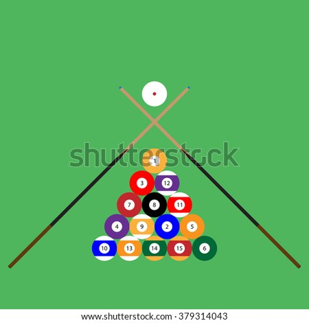 Snooker ball set of objects cue. Billiard pool, ball sphere, play sport, game competition, snooker hobby. Vector abstract flat design illustration - stock vector