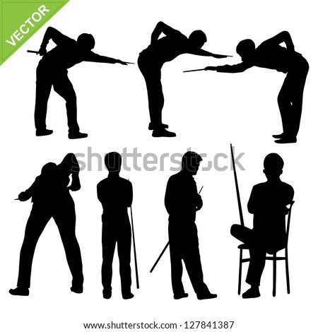 Snooker player silhouettes vector - stock vector