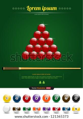 Snooker vector / pool, billiards /sport - stock vector