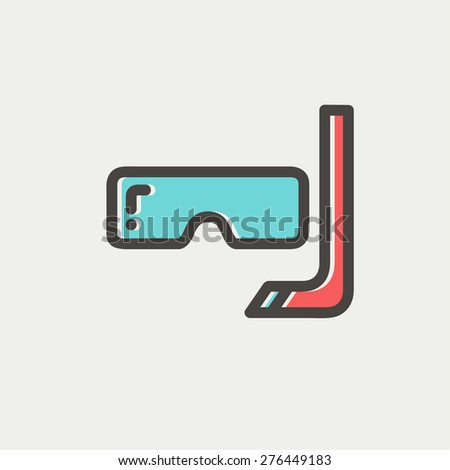 Snorkel and mask for diving icon thin line for web and mobile, modern minimalistic flat design. Vector icon with dark grey outline and offset colour on light grey background. - stock vector