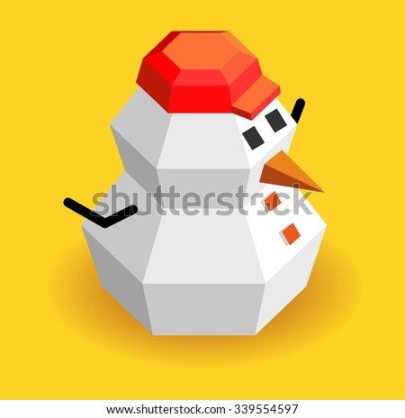 Snow and cold in xmas time, vector isometric cartoon - stock vector