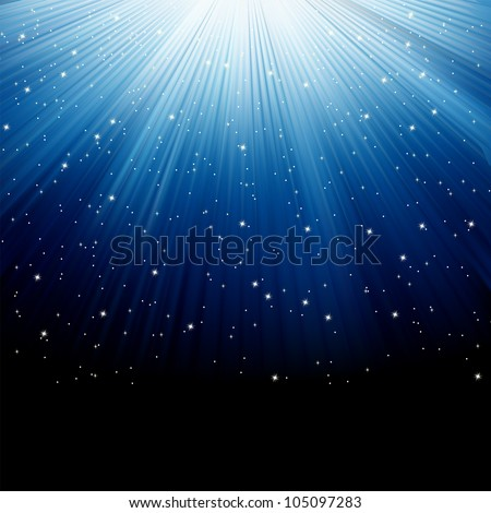 Snow and stars are falling on the background of blue luminous rays. EPS 8 vector file included - stock vector