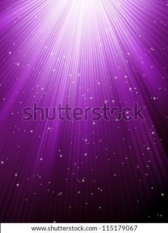 Snow and stars are falling on the background of purple luminous rays. EPS 8 vector file included - stock vector