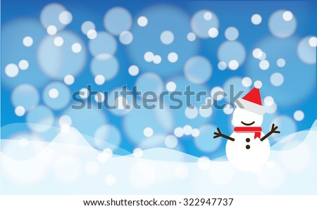 Snow bokeh background with snowman, concept for Christmas festival - stock vector