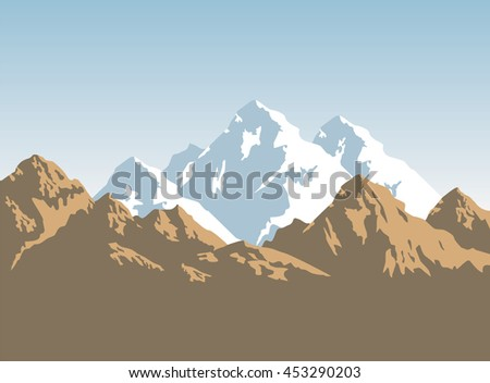 snow-capped mountains and brown rocks - vector background  - stock vector