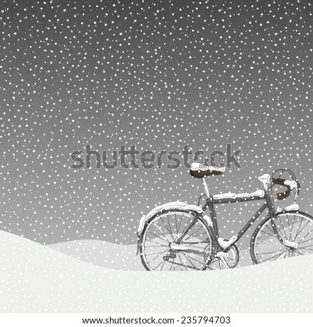 Snow Covered Bicycle, Calm Winter Scene - stock vector