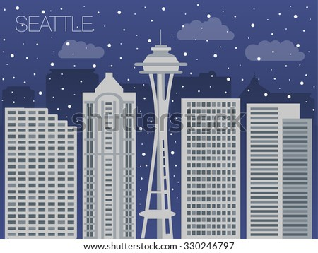 Snow-covered city before the holidays in Seattle - colorful flat style panorama of the metropolis - the appearance of the big city for the background of games - stock vector