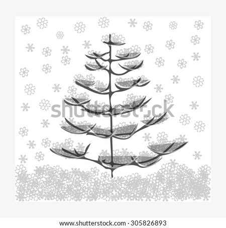 Snow-covered fir tree in white and gray colors - stock vector