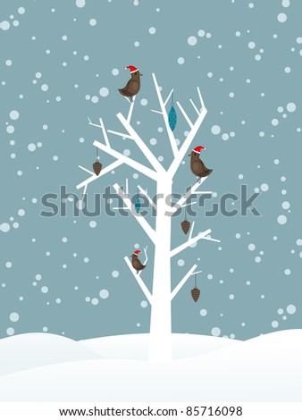 snow fall background with birds sitting on dry tree branch vector for merry christmas - stock vector