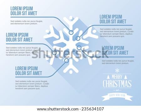 Snow flake Merry Christmas vector infographic, concept - stock vector